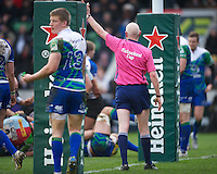 Referee Neil Paterson awards a penalty try to Harlequins during the Heineken Cup match between Harlequins and Connacht Rugby at The Twickenham Stoop on Saturday 12th January 2013 (Photo by Rob Munro).