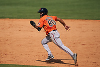 Baltimore Orioles Darell Hernaiz (80) attempts to steal second base during a Minor League Spring Training game against the Detroit Tigers on April 14, 2021 at TigerTown in Lakeland, Florida.  (Mike Janes/Four Seam Images)