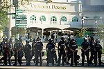 "September 5, 2020:  Police stand guard outside of Churchill Downs  the 146th Kentucky Derby. With the Kentucky Derby being the biggest sports event for the State of Kentucky, protestors have chosen the  event as a focal point for their calls for justice in the death of Breonna Taylor. Multiple groups from around the country have converged on Louisville to protest during the ""Run for the Roses"" at Churchill Downs in Louisville. Michael Clubb/Eclipse Sportswire/CSM"