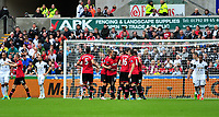 Manchester united celebrate their second goal scored by Danny Welbeck.<br />