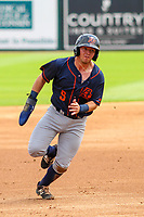 Bowling Green Hot Rods second baseman Trey Hair (5) runs to third base during a Midwest League game against the Wisconsin Timber Rattlers on July 23, 2018 at Fox Cities Stadium in Appleton, Wisconsin. Wisconsin defeated Bowling Green 5-3. (Brad Krause/Four Seam Images)