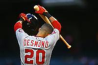 May 12, 2015; Phoenix, AZ, USA; Washington Nationals shortstop Ian Desmond reacts against the Arizona Diamondbacks at Chase Field. Mandatory Credit: Mark J. Rebilas-USA TODAY Sports