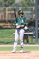 Oakland Athletics third baseman Max Schuemann (45) at bat during an Instructional League game against the Los Angeles Dodgers at Camelback Ranch on September 27, 2018 in Glendale, Arizona. (Zachary Lucy/Four Seam Images)
