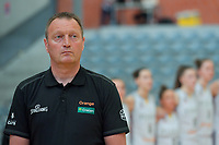 Philip Mestdagh headcoach of Belgium pictured during a basketball game between the national teams of Belgium , called the Belgian Cats , and Serbia on Friday 28 th of May 2021 in Kortrijk , Belgium . PHOTO SPORTPIX.BE | SPP | STIJN AUDOOREN