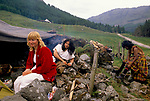 'CLAN, THE' SCOTLAND, A GROUP WHO SPEND THEIR WEEKENDS AT A CAMP IN GLEN CROE, RECREATING THE LIFE OF A SCOTTISH CLAN BEFORE THE DEFEAT OF BONNIE PRINCE CHARLIE BY THE ENGLISH AT THE BATTLE OF CULLODEN IN 1746. LANDOWNER & HONORARY MEMBER DIANE DAVIDSON & THE CHIEF'S WIFE CARY (REAL NAME PAMALA) AT THE CAMP, 1989