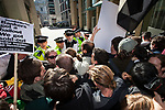 © Joel Goodman - 07973 332324  . 15/10/2011 . London, UK . Police hold back protesters trying to access the London Stock Exchange building . Occupy London protest in and around the City of London as one of  several anti-capitalist demonstrations taking place around the world . Photo credit: Joel Goodman