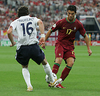 Owen Hargreaves, Cristiano Ronaldo.  Portugal defeated England on penalty kicks after playing to a 0-0 tie in regulation in their FIFA World Cup quarterfinal match at FIFA World Cup Stadium in Gelsenkirchen, Germany, July 1, 2006.