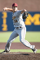 Central Michigan Chippewas pitcher Michael Brettell (34) makes a pickoff throw to first base against the Michigan Wolverines on May 9, 2017 at Ray Fisher Stadium in Ann Arbor, Michigan. Michigan defeated Central Michigan 4-2. (Andrew Woolley/Four Seam Images)