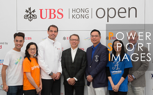 (L-R) Gary Wong, from Inspiring Hong Kong Sports Foundation, Silvia Chia, from Autism Partnership Foundation, Bjoern Waespe, Managing Director of UBS Brand Activation, Sponsorship and Events, Dr. Caleb Chan, Founder of Friends of Asia Hong Kong, Kenneth Lam, Captain of the Hong Kong Golf Club, Blondi Kwok, from Payright, and David Boehm, from The Hub Hong Kong, take part in the Charity Cup press conference on the sidelines of the 58th UBS Hong Kong Golf Open as part of the European Tour on 10 December 2016, at the Hong Kong Golf Club, Fanling, Hong Kong, China. Photo by Vivek Prakash / Power Sport Images