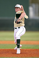 February 22, 2009:  Pitcher Shawn Sanford (12) of the University of South Florida during the Big East-Big Ten Challenge at Naimoli Complex in St. Petersburg, FL.  Photo by:  Mike Janes/Four Seam Images
