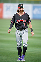 Brendan Rodgers (1) of the Albuquerque Isotopes before the game against the Salt Lake Bees at Smith's Ballpark on April 24, 2019 in Salt Lake City, Utah. The Isotopes defeated the Bees 5-4. (Stephen Smith/Four Seam Images)