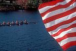 Head of the Charles Regatta, eight oared racing shell, rowers, Charles River, American flag, Boston, Cambridge, Massachusetts, New England, USA,.