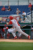 Williamsport Crosscutters Bryson Stott (15) bats during a NY-Penn League game against the Batavia Muckdogs on August 27, 2019 at Dwyer Stadium in Batavia, New York.  Williamsport defeated Batavia 11-4.  (Mike Janes/Four Seam Images)