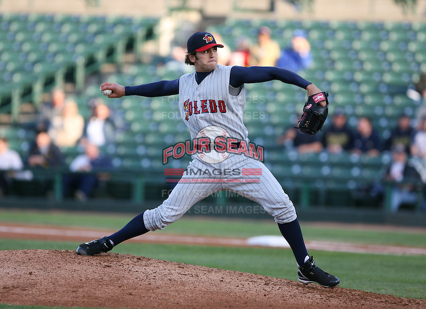 2007:  Virgil Vasquez of the Toledo Mudhens delivers a pitch vs. the Rochester Red Wings in International League baseball action.  Photo By Mike Janes/Four Seam Images
