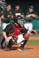 Louisville Cardinals catcher Kyle Gibson #14 during a game against the Illinois Fighting Illini at the Big Ten/Big East Challenge at Al Lang Stadium on February 18, 2012 in St. Petersburg, Florida.  (Mike Janes/Four Seam Images)