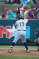 Roberto Alvarez (13) of the Princeton Rays at bat against the Pulaski Yankees at Calfee Park on July 14, 2018 in Pulaski, Virginia. The Rays defeated the Yankees 13-1.  (Brian Westerholt/Four Seam Images)