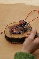 Vogelfutter selbst machen: Mischung aus Fett, Sonnenblumenkernen, Getreideflocken, getrockneten Wildbeeren wird in Holzringe gefüllt, Vogel-Futter, Fettfutter