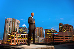 The Ft Lauderdale skyline looms behind attorney Eugene Pettis in Ft. Lauderdale, Florida  April  11, 2013.  Pettis is the incoming president of the Florida Bar.<br /> (CREDIT: Mark Wallheiser for Florida Bar Journal ©2013 Mark Wallheiser