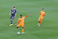 ST PAUL, MN - OCTOBER 18: Victor Cabrera #36 of Houston Dynamo kicks the ball during a game between Houston Dynamo and Minnesota United FC at Allianz Field on October 18, 2020 in St Paul, Minnesota.