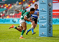 27th March 2021; Brentford Community Stadium, London, England; Gallagher Premiership Rugby, London Irish versus Bath; Ben Loader of London Irish scores his try