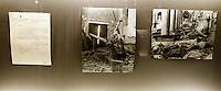 """Lettera di Alfredo Cucco, vicesegretario del Partito Nazionale Fascista, al segretario di Stato Vaticano cardinale Luigi Maglione, con due fotografie delle conseguenze del bombardamento alleato a San Lorenzo, esposta alla mostra """"Lux in Arcana - L'Archivio Segreto Vaticano si rivela"""", ai Musei Capitolini di Roma..Letter from National Fascist Party's deputy secretary Alfredo Cucco to the Vatican secretary of State cardinal Luigi Maglione, with two photographs attesting the consequences of the Allied bombing of San Lorenzo, displayed at the exhibition """"Lux in Arcana - The Vatican Secret Archive reveals itself"""" at Rome's Capitoline Museums. .UPDATE IMAGES PRESS/Riccardo De Luca"""