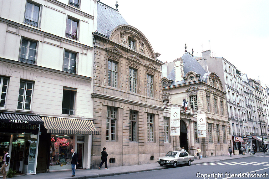Paris: Hotel de Bethune-Sully, 1624. Rue St. Antoine in the Marais District.  Jean Androuet du Cerceau, architect. Photo '87.