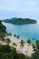 Aerial view of the main beach and dock of Ko Wua Talap island in Ang Thong national marine park, thailand