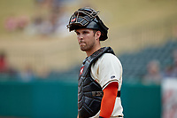 Greensboro Grasshoppers catcher Kyle Wilkie (35) on defense against the Rome Braves at First National Bank Field on May 16, 2021 in Greensboro, North Carolina. (Brian Westerholt/Four Seam Images)