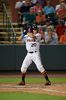 Delmarva Shorebirds Nick Horvath (20) during a South Atlantic League game against the Greensboro Grasshoppers on August 21, 2019 at Arthur W. Perdue Stadium in Salisbury, Maryland.  Delmarva defeated Greensboro 1-0.  (Mike Janes/Four Seam Images)
