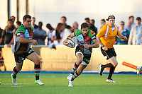 20130803 Copyright onEdition 2013 ©<br />Free for editorial use image, please credit: onEdition.<br /><br />Ollie Lindsay-Hague of Harlequins 7s during the J.P. Morgan Asset Management Premiership Rugby 7s Series.<br /><br />The J.P. Morgan Asset Management Premiership Rugby 7s Series kicks off for the fourth season on Thursday 1st August with Pool A at Kingsholm, Gloucester with Pool B being played at Franklin's Gardens, Northampton on Friday 2nd August, Pool C at Allianz Park, Saracens home ground, on Saturday 3rd August and the Final being played at The Recreation Ground, Bath on Friday 9th August. The innovative tournament, which involves all 12 Premiership Rugby clubs, offers a fantastic platform for some of the country's finest young athletes to be exposed to the excitement, pressures and skills required to compete at an elite level.<br /><br />The 12 Premiership Rugby clubs are divided into three groups for the tournament, with the winner and runner up of each regional event going through to the Final. There are six games each evening, with each match consisting of two 7 minute halves with a 2 minute break at half time.<br /><br />For additional images please go to: http://www.w-w-i.com/jp_morgan_premiership_sevens/<br /><br />For press contacts contact: Beth Begg at brandRapport on D: +44 (0)20 7932 5813 M: +44 (0)7900 88231 E: BBegg@brand-rapport.com<br /><br />If you require a higher resolution image or you have any other onEdition photographic enquiries, please contact onEdition on 0845 900 2 900 or email info@onEdition.com<br />This image is copyright the onEdition 2013©.<br /><br />This image has been supplied by onEdition and must be credited onEdition. The author is asserting his full Moral rights in relation to the publication of this image. Rights for onward transmission of any image or file is not granted or implied. Changing or deleting Copyright information is illegal as specified in the Copyright, Design and Patents Act 1988. If you are in any w