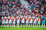 Players on Rayo Vallecano line up and pose for a photo prior to the La Liga 2018-19 match between Atletico de Madrid and Rayo Vallecano at Wanda Metropolitano on August 25 2018 in Madrid, Spain. Photo by Diego Souto / Power Sport Images