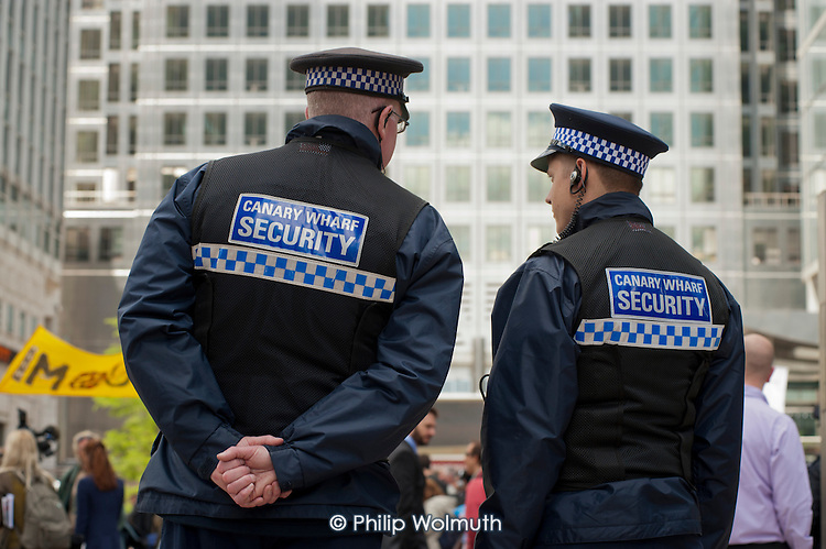 Private security guards on duty at Canary Wharf, London.  Canary Wharf group is part-owned by the Qatari Sovereign Wealth Fund.