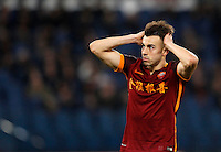 Calcio, Serie A: Roma vs Sampdoria. Roma, stadio Olimpico, 7 febbraio 2016.<br /> Roma's Stephan El Shaarawy reacts after missing a scoring chance during the Italian Serie A football match between Roma and Sampdoria at Rome's Olympic stadium, 7 January 2016.<br /> UPDATE IMAGES PRESS/Riccardo De Luca