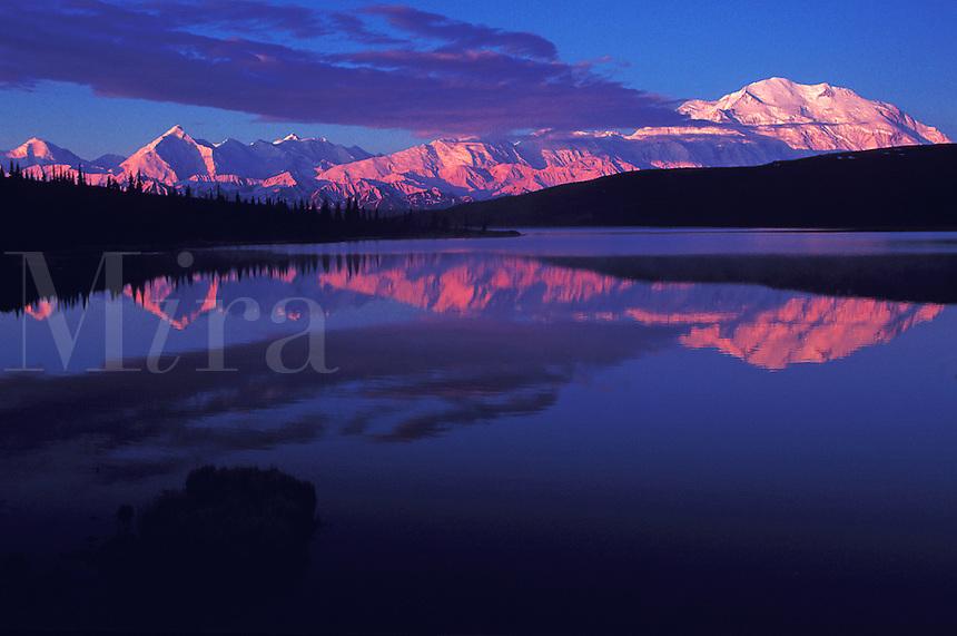 Landscape of Mount McKinley reflected on Wonder Lake. Denali National Park, Alaska.