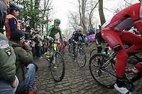 Björn Thurau (DEU) up the Muur van Geraardsbergen<br /> <br /> Omloop Het Nieuwsblad 2014