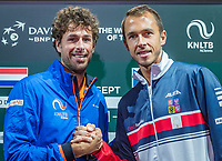 The Hague, The Netherlands, September 13, 2017,  Sportcampus , Davis Cup Netherlands - Chech Republic, Draw, Seccond match on friday : Robin Haase (NED) (L) vs Lucas Rosol (CZE)<br /> Photo: Tennisimages/Henk Koster