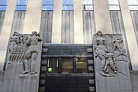 New York City: Rockefeller Center, RCA Building. W. 50th St. entrance--bas-relief by Leo Friedlander, 1933. Apparently symbolizing Radio & TV?