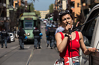 Maria Edgarda 'Eddi' Marcucci, Italian citizen who fought in the North of Syria / Rojava against ISIS along with the Kurdish forces.<br /> <br /> Rome, Italy. 25th Apr, 2021. Today, to mark the 76th Anniversary of the Italian Liberation from nazi-fascism (Liberazione), Azione Antifascista Roma Est, supported by ANPI Centocelle (National Association of Italian WWII Partizans), and various Antifascist organizations, movements, students, political parties, social centres, held a march (Corteo) from Piazza delle Camelie to Villa Gordiani's Park (1.), in Centocelle's district. The demonstration began with a rally in front of the Memorial dedicated to the Partizans of Centocelle victims of nazi-fascist occupation troops and retaliations, where Partizans and their relatives, activists, historians gave speeches to remember the population struggle and solidarity, to keep the memory and the lesson of the Resistenza alive and to reaffirm the values of Freedom and Justice of the Italian Antifascist Constitution as the only way to fight against fascist pulsions re-appearing all over the world.  <br /> On the 4th June 2018 the Centocelle's District was awarded of the State Gold Medal (for Civil Merit) for its Antifascist Resistance (2.).<br /> <br /> Footnotes & Links: <br /> 1. http://bit.do/fQB69 <br /> 2. http://bit.do/fQB7m <br /> Previous 25 Aprile's Events:<br /> - 25 Aprile 2020: http://bit.do/fQB77 <br /> - I Partigiani http://tiny.cc/cwi3nz<br /> - 25 Aprile 2019 (at Ferramonti di Tarsia concentration camp) http://bit.do/fQB8i <br /> - 25 Aprile 2018 http://tiny.cc/dsi3nz<br /> http://www.anpi.it <br /> (Source, Wikipedia.org ENG) The Liberazione: https://en.wikipedia.org/wiki/Liberation_Day_(Italy)