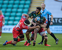 29th September 2020; Franklin Gardens, Northampton, East Midlands, England; Premiership Rugby Union, Northampton Saints versus Sale Sharks; Lewis Ludlam of Northampton Saints is tackled by Jono Ross of Sale Sharks