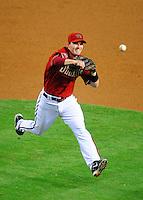 Apr. 22, 2008; Phoenix, AZ, USA; Arizona Diamondbacks shortstop Stephen Drew makes a throw to first base against the San Francisco Giants at Chase Field. Mandatory Credit: Mark J. Rebilas-
