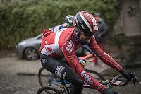 Kris Boeckmans (BEL/Lotto-Soudal) enjoying the cobbles on the Chemin de Wihéries (Honelles)<br /> <br /> GP Le Samyn 2017 (1.1)