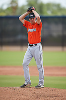 Miami Marlins pitcher Andrew Miller (8) during a Minor League Spring Training game against the Washington Nationals on March 28, 2018 at FITTEAM Ballpark of the Palm Beaches in West Palm Beach, Florida.  (Mike Janes/Four Seam Images)