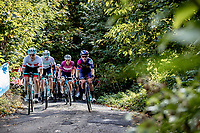 Swiss National Champion Marleen Reusser (SUI/Paule Ka), Hannah Barnes (GBR/Canyon-Sram) and Elizabeth Deignan (GBR/Trek-Segafredo) in front up the Baneberg <br /> <br /> 9th Gent-Wevelgem in Flanders Fields 2020<br /> Elite Womens Race (1.WWT)<br /> <br /> One Day Race from Ypres (Ieper) to Wevelgem 141km<br /> <br /> ©kramon