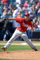 Philadelphia Phillies pitcher Jeremy Horst (47) during a spring training game against the New York Yankees on March 1, 2014 at Steinbrenner Field in Tampa, Florida.  New York defeated Philadelphia 4-0.  (Mike Janes/Four Seam Images)