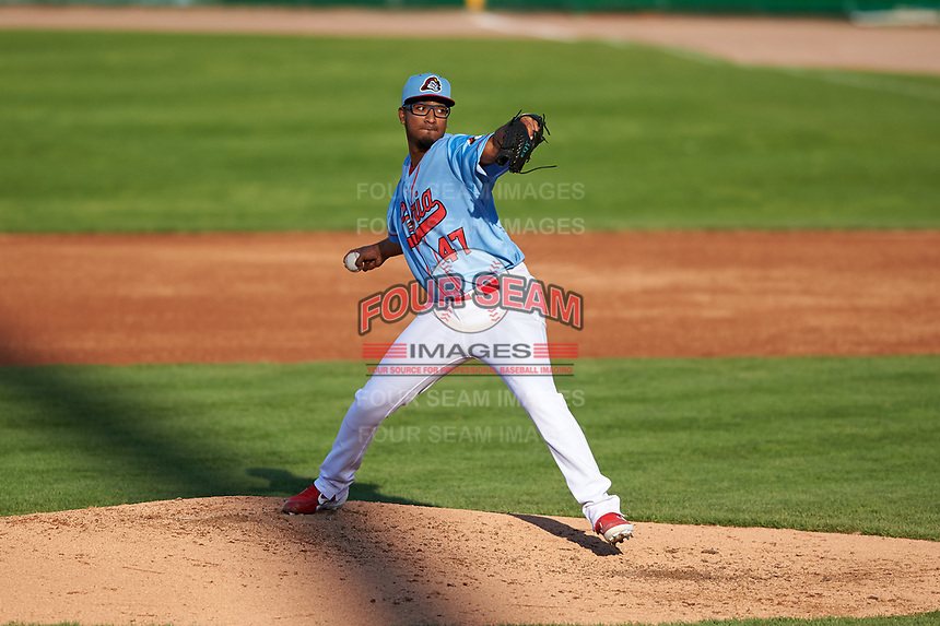 Peoria Chiefs relief pitcher Franyel Casadilla (47) during a Midwest League game against the Bowling Green Hot Rods at Dozer Park on May 5, 2019 in Peoria, Illinois. Peoria defeated Bowling Green 11-3. (Zachary Lucy/Four Seam Images)