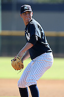 New York Yankees minor league pitcher Bryan Mitchell (11) vs. the Pittsburgh Pirates in an Instructional League game at the New York Yankees Minor League Complex in Tampa, Florida;  October 8, 2010.  Photo By Mike Janes/Four Seam Images