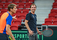 The Hague, The Netherlands, September 11, 2017,  Sportcampus , Davis Cup Netherlands - Chech Republic, training, Matwe Middelkoop (NED) with captain Paul Haarhuis (L)<br /> Photo: Tennisimages/Henk Koster