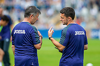 Claudio Bordon, Fitness Coach talks ro Richard Buchanan, Performance Director during the Pre Season friendly match between Swansea City and Rovers played at the Memorial Stadium, Bristol on July 23rd 2016