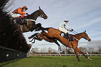 Refusal ridden by Tom Messenger (R) in jumping action during the Tom Jones Memorial HTJ Centre Ltd Beginners Chase - Horse Racing at Huntingdon Racecourse, Brampton, Cambridgeshire - 13/11/12 - MANDATORY CREDIT: Gavin Ellis/TGSPHOTO - Self billing applies where appropriate - 0845 094 6026 - contact@tgsphoto.co.uk - NO UNPAID USE.