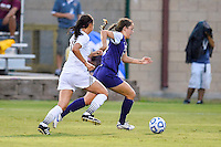 TCU forward Emma Heckendorn (22) and Texas State midfielder Maddie Nichols (15) during NCAA soccer game, Friday, September 12, 2014 in San Marcos, Tex. TCU defeated Texas State 1-0. (Mo Khursheed/TFV Media via AP Images)